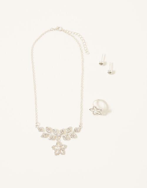 Diamante Flower Jewellery Set, , large