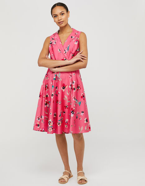 Maisy Floral Dress in Organic Cotton Pink, Pink (PINK), large