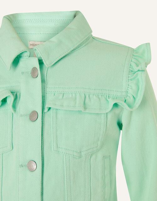 Ruffle Denim Jacket , Blue (AQUA), large