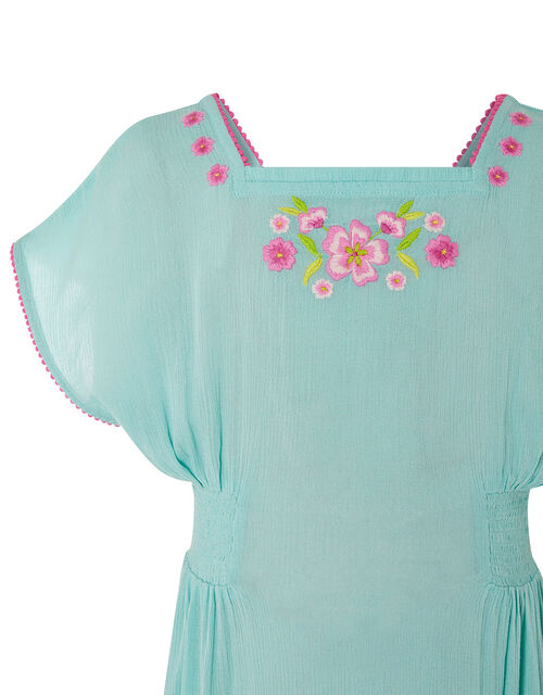 Floral Embroidered Kaftan Dress, Blue (TURQUOISE), large