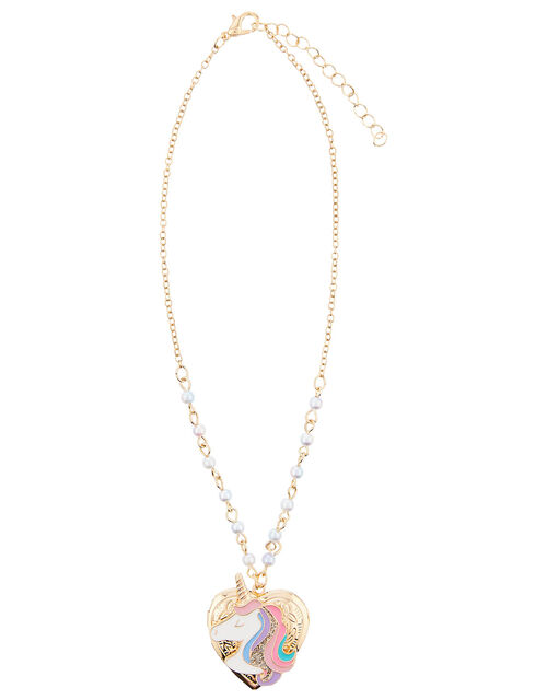 Unicorn Rainbow Locket Necklace, , large