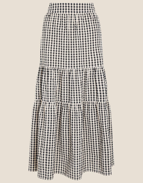 Gingham Tiered Skirt , Natural (NATURAL), large