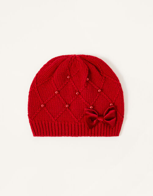 Ruby Pearl and Bow Beanie, Red (RED), large