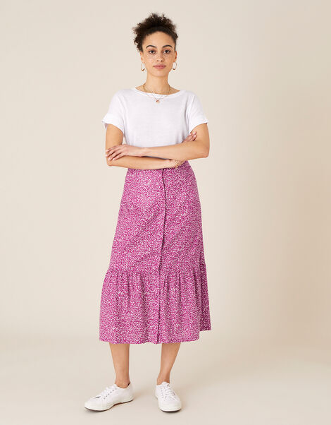 Maddy Printed Jersey Midi Skirt Pink, Pink (PINK), large