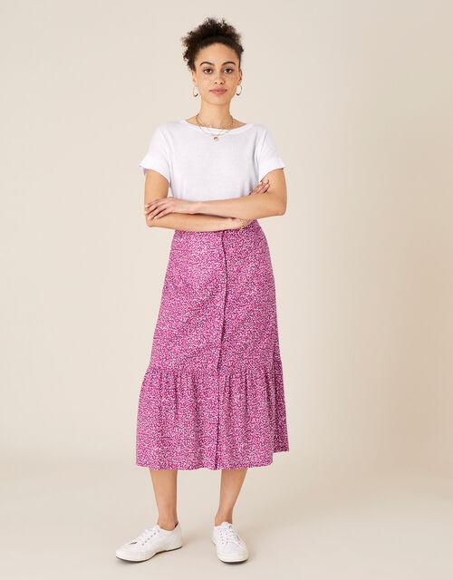Maddy Printed Jersey Midi Skirt, Pink (PINK), large