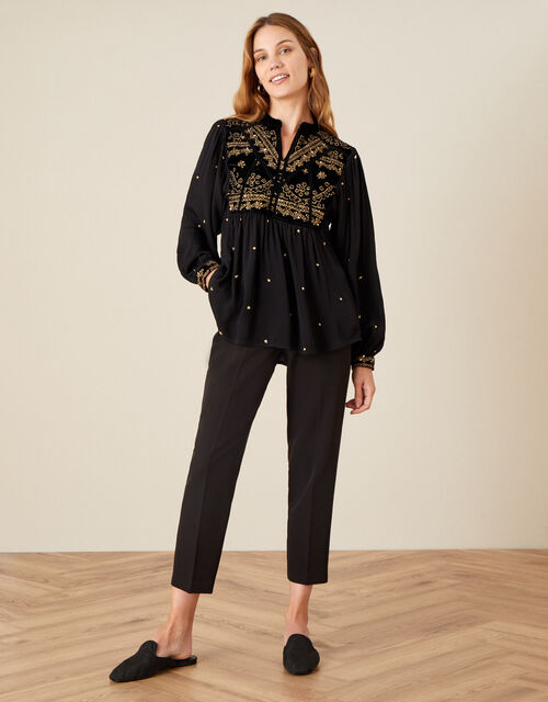 Hally Embroidered Velvet Trim Top with Sustainable Viscose , Black (BLACK), large