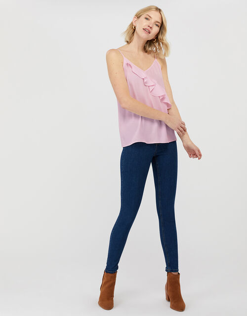 Bella Frill Cami Top, Pink (BLUSH), large