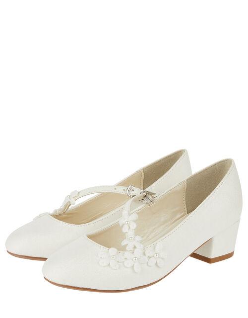 Evelyn Asymmetric Flower Trim Shoes, Ivory (IVORY), large