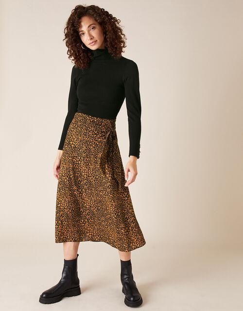 Animal Heart Print Tie Midi Skirt, Black (BLACK), large