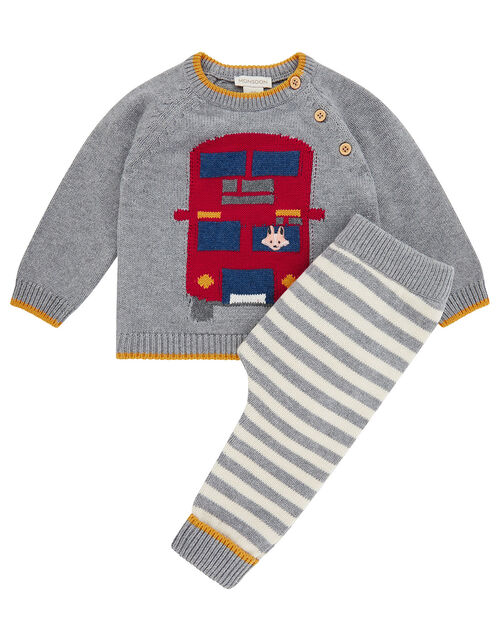 Newborn Baby London Bus Knit Set, Grey (GREY), large
