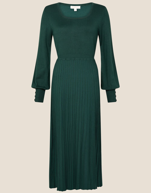 Square Neck Midi Dress, Green (DARK GREEN), large