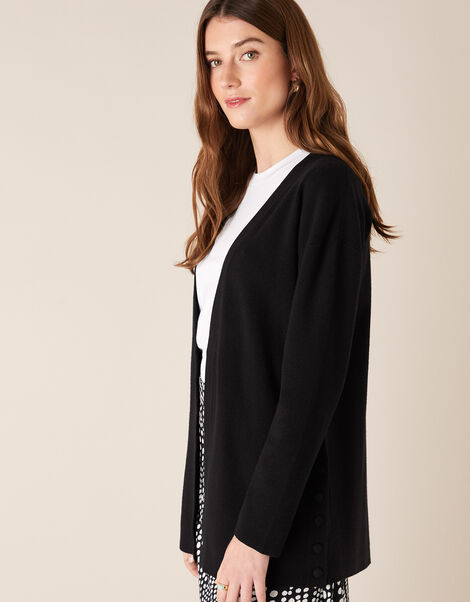 Button Side Edge-to-Edge Cardigan  Black, Black (BLACK), large