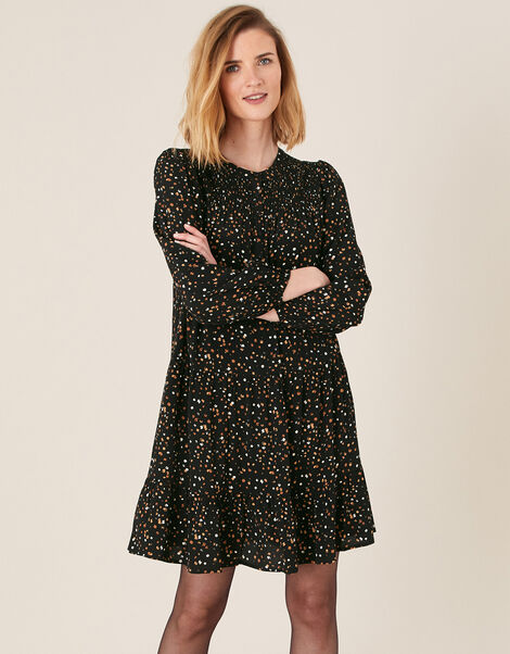 Spot Print Tiered Dress with LENZING™ ECOVERO™ Black, Black (BLACK), large