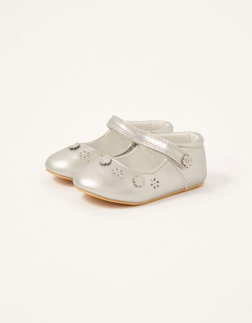 3D Flower Shimmer Walker Shoes, Silver (SILVER), large