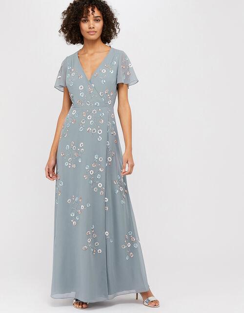 Ally Embellished Wrap Maxi Dress, Grey (GREY), large