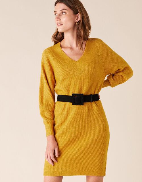 Ribbed Knit Dress, Yellow (OCHRE), large