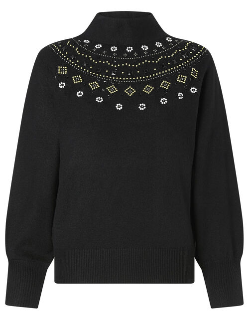 Embellished Yoke Knit Jumper, Black (BLACK), large