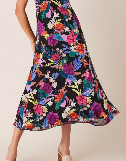 Bonnie Floral Burnout Print Midi Dress, Black (BLACK), large