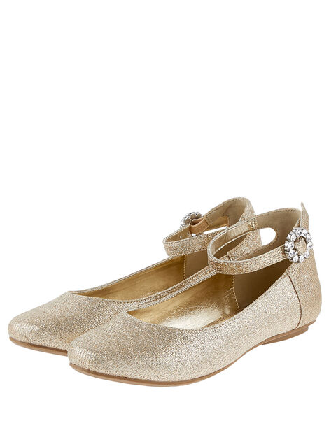 Ankle Strap Ballerina Flats  Gold, Gold (GOLD), large