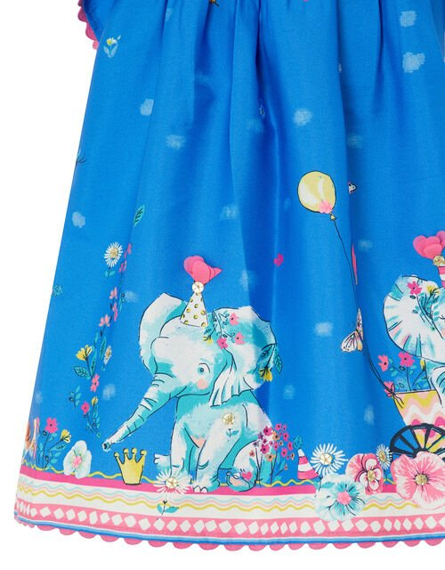 Baby Blue Animal Border Dress in Recycled Fabric, Blue (BLUE), large