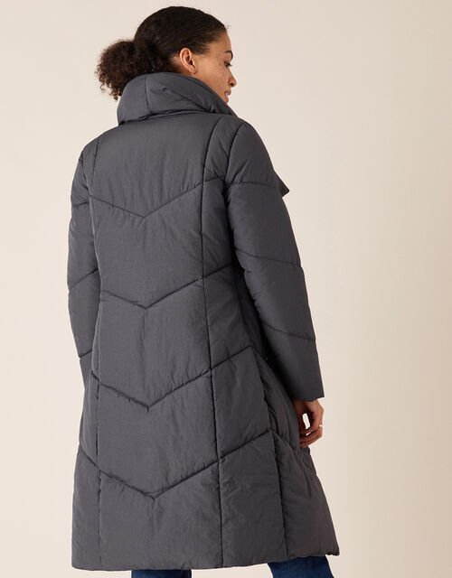 Dhalia Long Padded Coat in Recycled Fabric, Grey (CHARCOAL), large