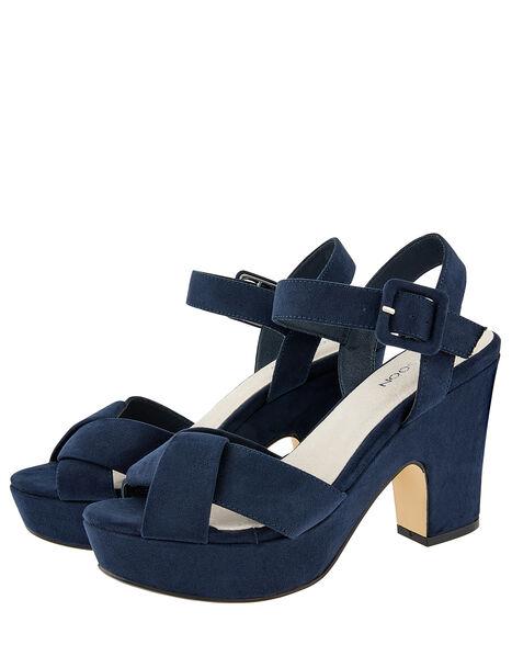 Polly Platform Heeled Sandals Blue, Blue (NAVY), large