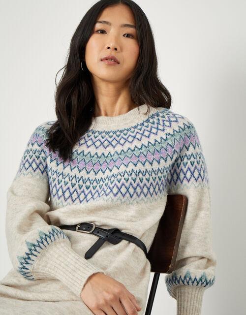 Fairisle Crew Neck Knit Dress, Cream (CREAM), large