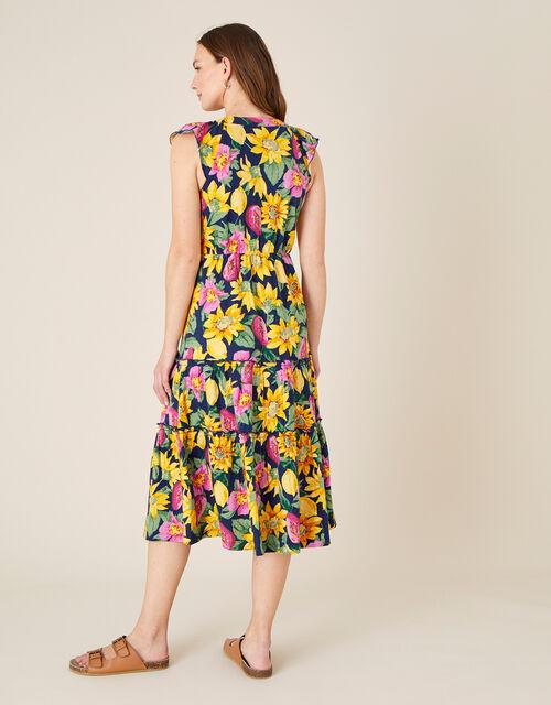 Floral Print Jersey Midi Dress , Blue (NAVY), large