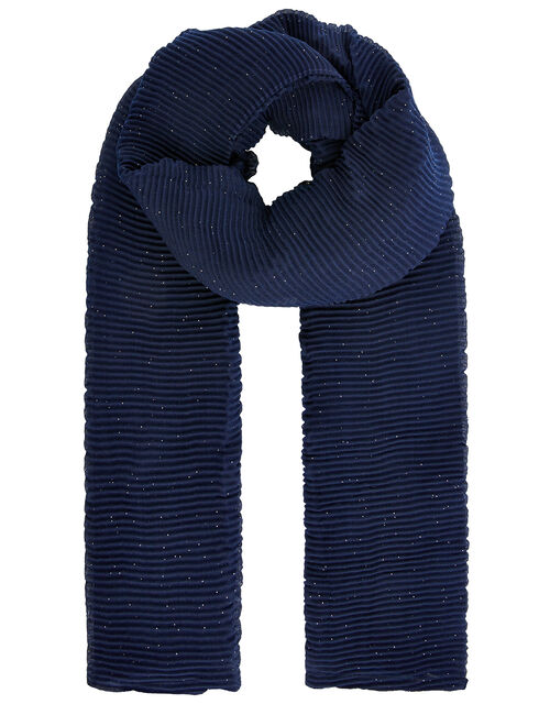 Shimmer Pleated Occasion Scarf, Blue (NAVY), large