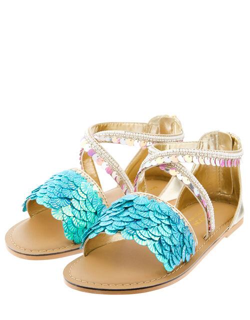 Nerissa Mermaid Embellished Sandals, Blue (BLUE), large
