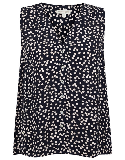 Dulce Spot Print Top in Sustainable Viscose, Blue (NAVY), large
