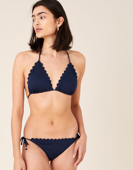 Scallop Bikini Top with Recycled Polyester Blue, Blue (NAVY), large