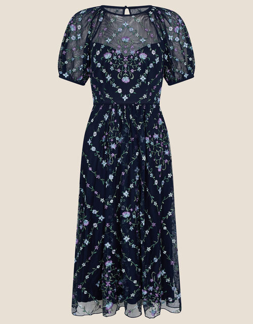 Hele Floral Embroidered Midi Dress, Blue (NAVY), large