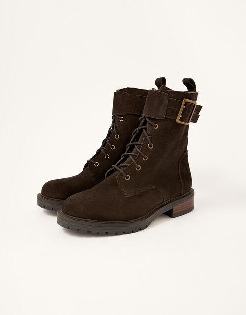 Suzie Suede Buckle Biker Boots, Brown (CHOCOLATE), large