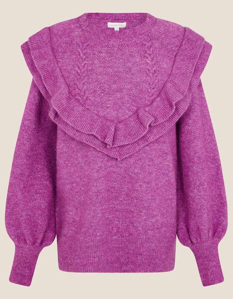 Double Frill V-Detail Jumper  Pink, Pink (PINK), large