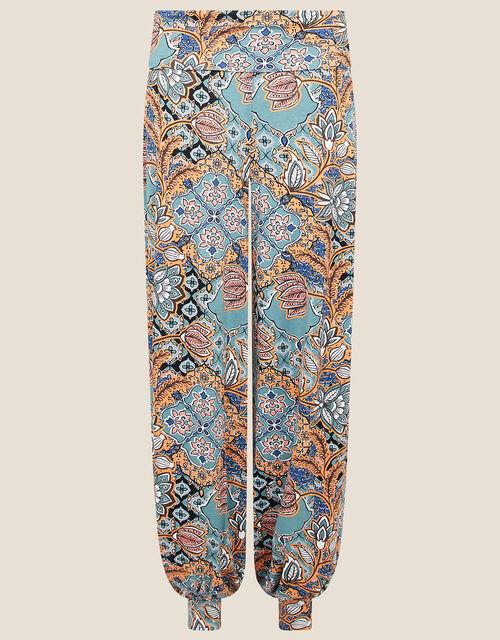 Tie Print Hareem Trousers, Blue (BLUE), large