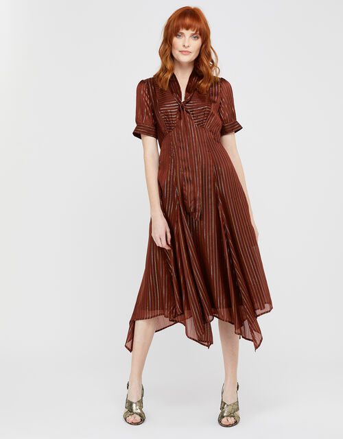 Elodie Metallic Stripe Dress, Chocolate, large