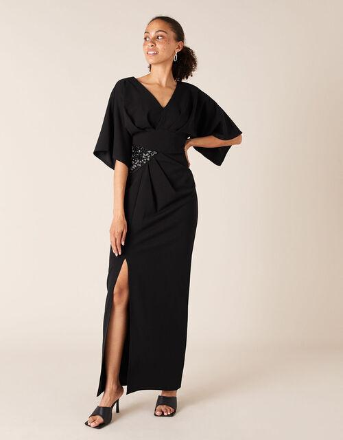 Kirsty Beaded Insert Stretch Maxi Dress, Black (BLACK), large