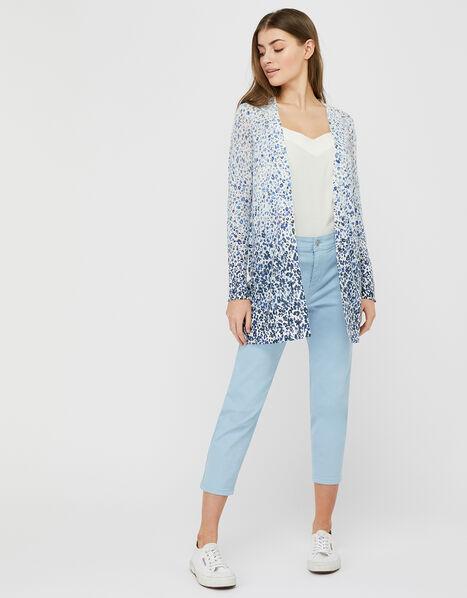 Poppy Floral Longline Cardigan in Linen Blend Blue, Blue (BLUE), large