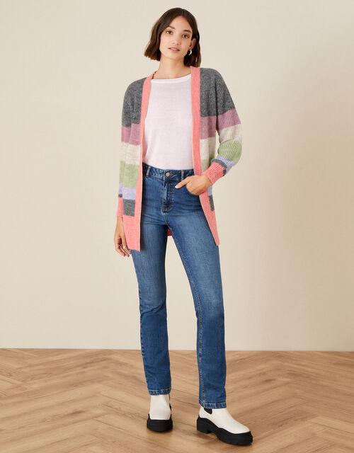 Stripe Cardigan in Wool Blend, Grey (CHARCOAL), large