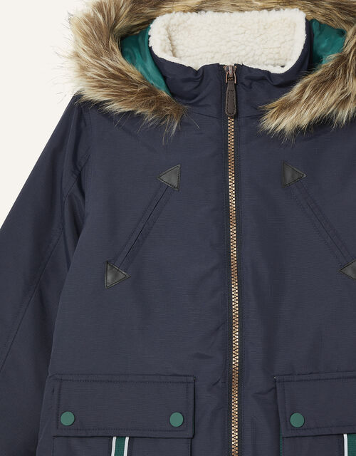 Parka Reflective Tape Coat, Blue (NAVY), large
