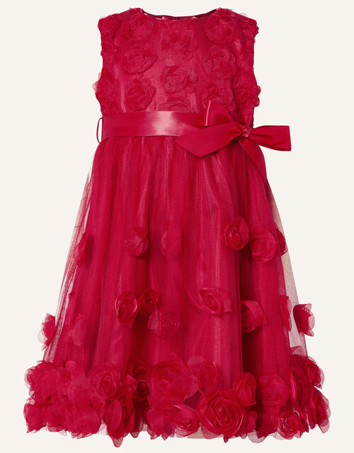 Baby 3D Rose Dress, Red (RED), large