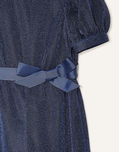 Erin Sparkle Puff Sleeve Jumpsuit, Blue (NAVY), large