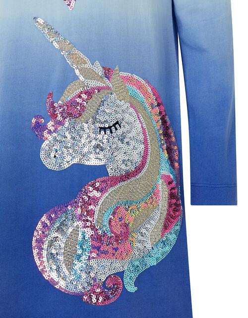Callie Sequin Unicorn Sweat Dress, Blue (BLUE), large