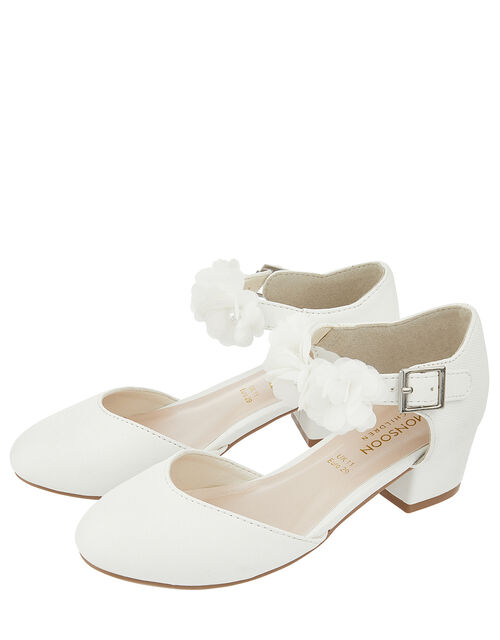Macaroon Ivory Two Part Floral Shoe, Ivory (IVORY), large