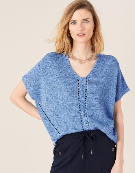 Tyla Tape Yarn Jumper Blue, Blue (BLUE), large