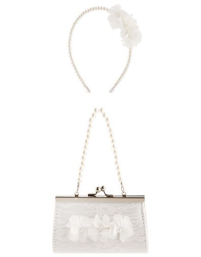 Pearl and Lace Mini Bag and Headband Set, , large