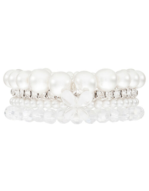 Pearl and Crystal Bracelets with Butterfly Charm, , large