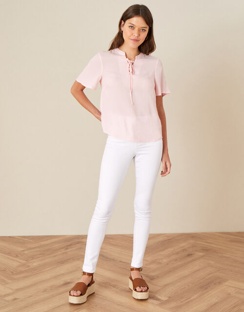 Tie Neck Short Sleeve Blouse, Pink (BLUSH), large