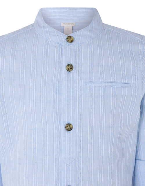 Jamie Textured Shirt in Pure Cotton, Blue (BLUE), large